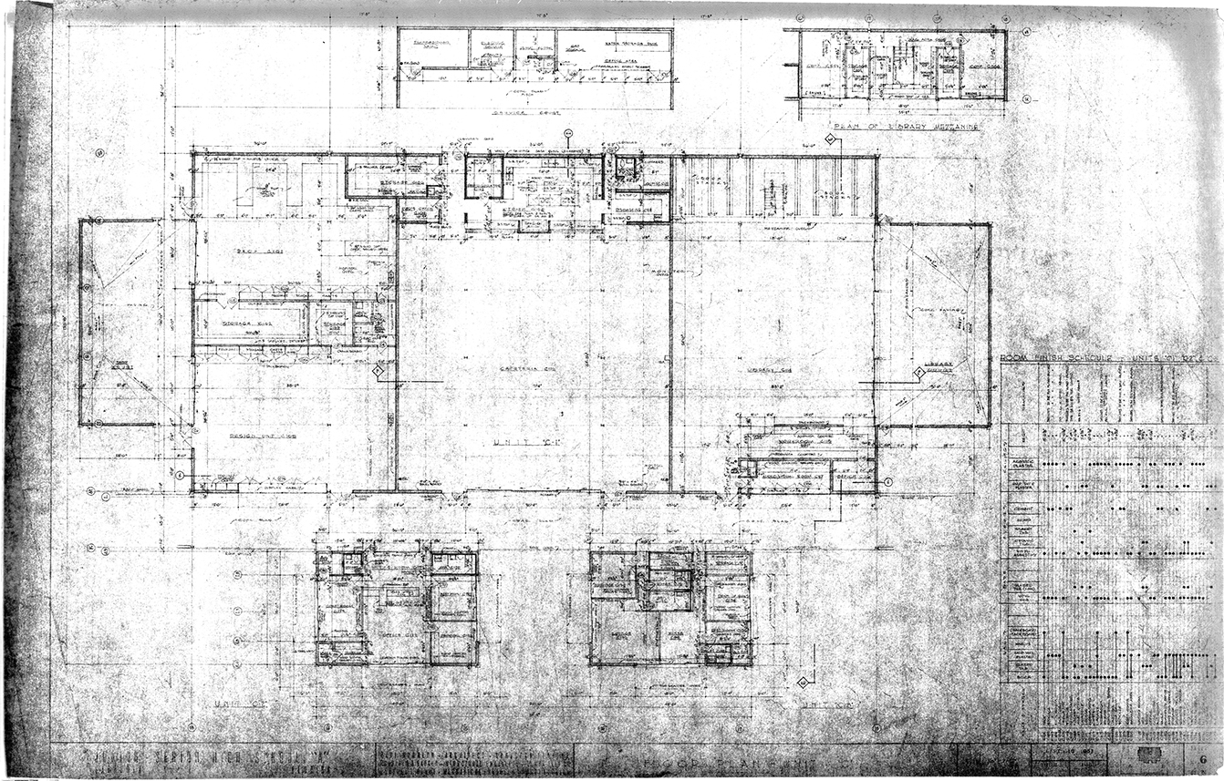 Riverview High School, Sarasota, Florida. Floor Plan - Units 'C1', 'C2' & 'C3'. Drawing dated September 18, 1957.