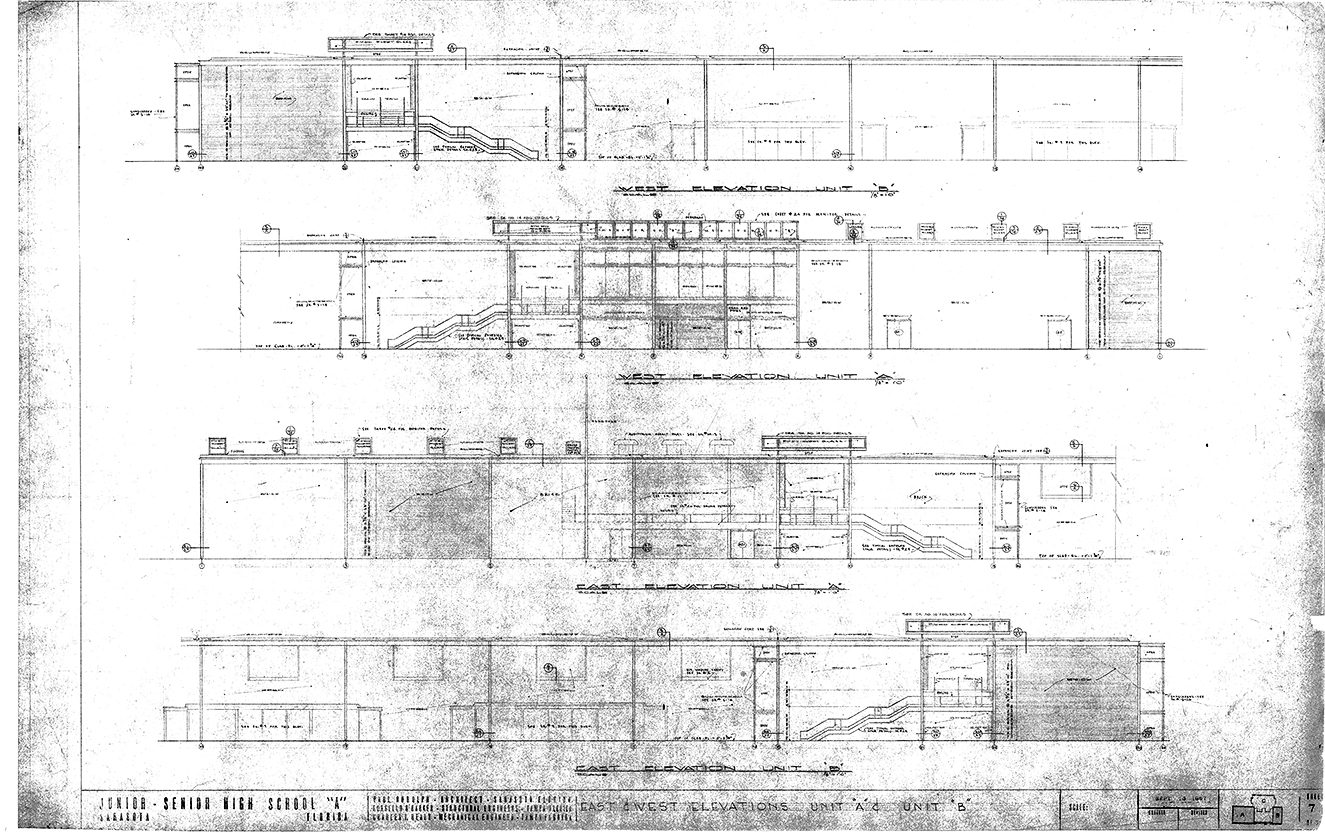 Riverview High School, Sarasota, Florida. East & West Elevations - Units 'A' & 'B'. Drawing dated September 18, 1957.