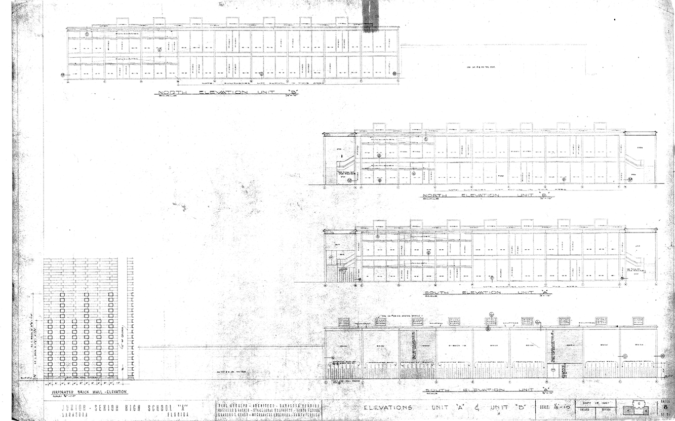 Riverview High School, Sarasota, Florida. North & South Elevations - Units 'A' & 'B'. Drawing dated September 18, 1957.