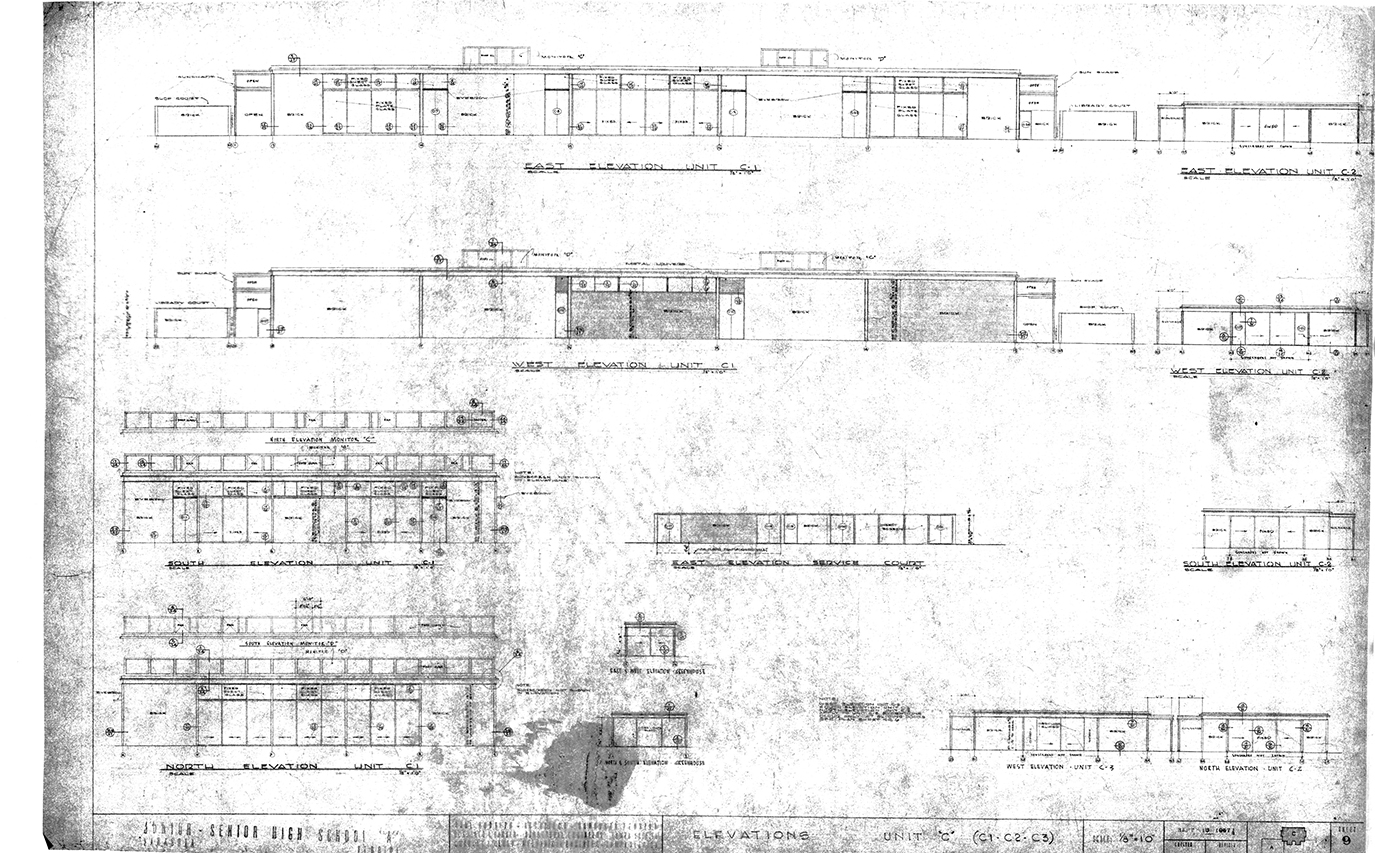 Riverview High School, Sarasota, Florida. Elevations - Units 'C1', 'C2' & 'C3'. Drawing dated September 18, 1957.