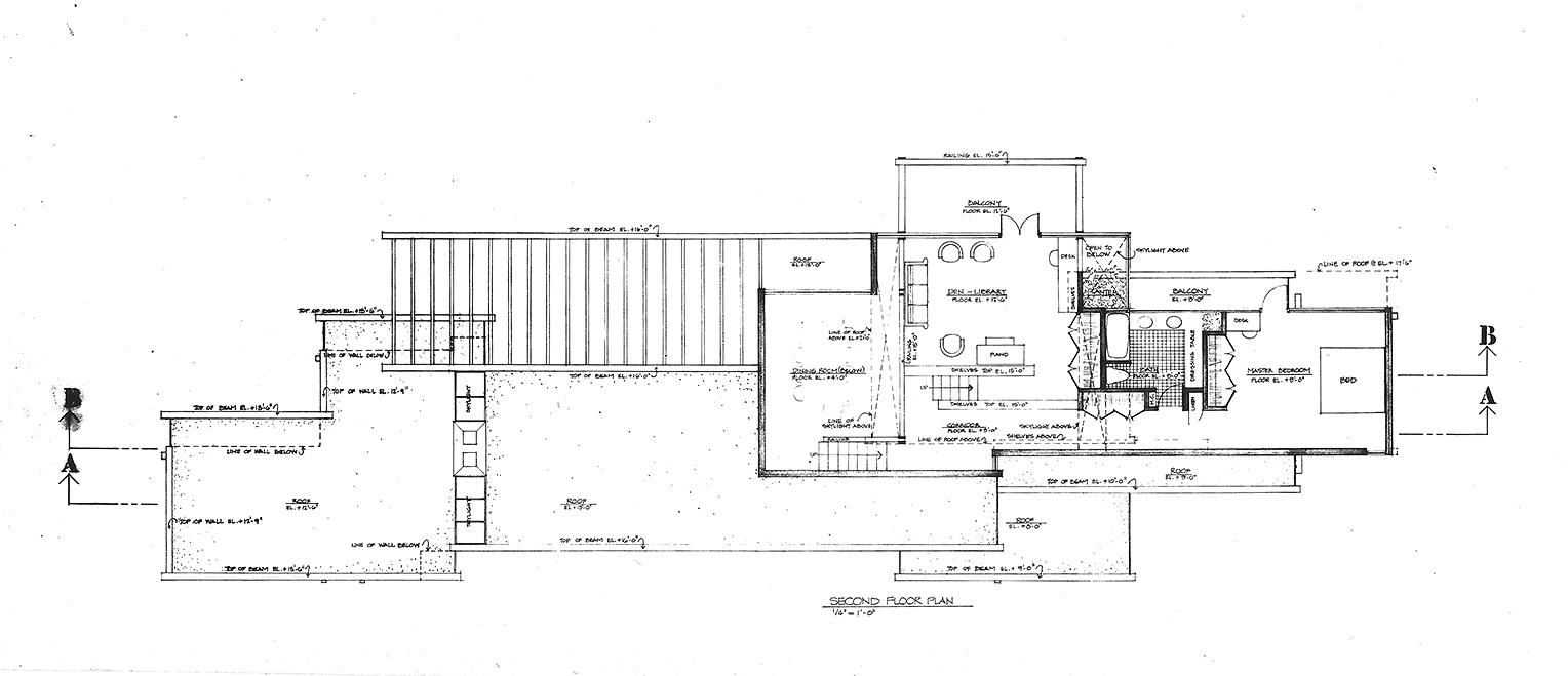 Micheels Residence, 16 Minute Man Hill, Westport, CT. Second Floor Plan.