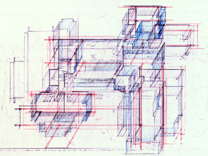 Wee Ee Chao Residence, Singapore. Axonometric Sketch.
