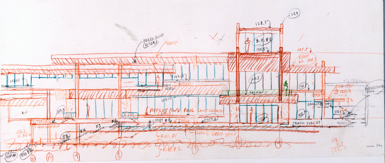 Wee Ee Chao Residence, Singapore. Elevation Sketch.