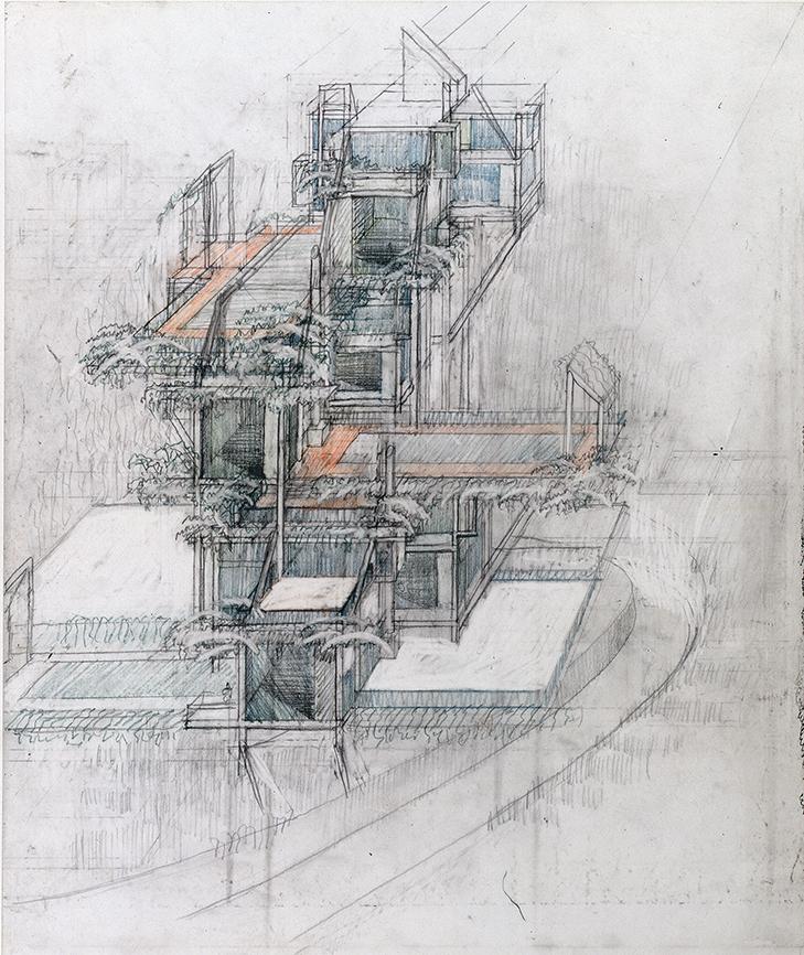 Wee Ee Chao condominiums, Hong Kong, China. Axonometric Sketch.