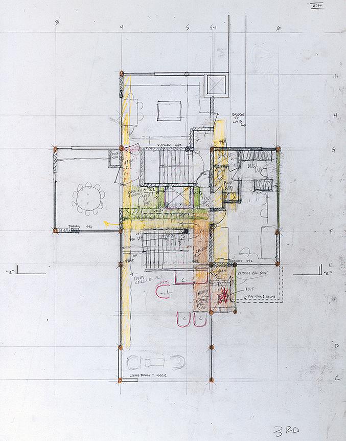 Wee Ee Chao condominiums, Hong Kong, China. Third Floor Plan Sketch.