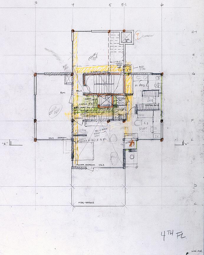 Wee Ee Chao condominiums, Hong Kong, China. Fourth Floor Plan Sketch.