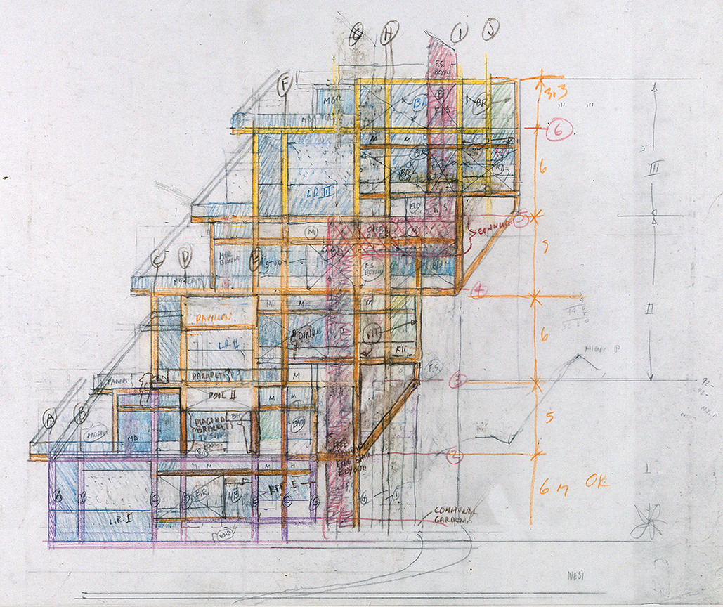 Wee Ee Chao condominiums, Hong Kong, China. West Elevation Sketch.