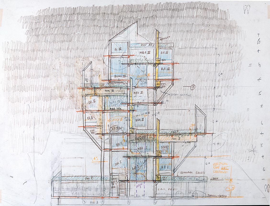 Wee Ee Chao condominiums, Hong Kong, China. Elevation Sketch.