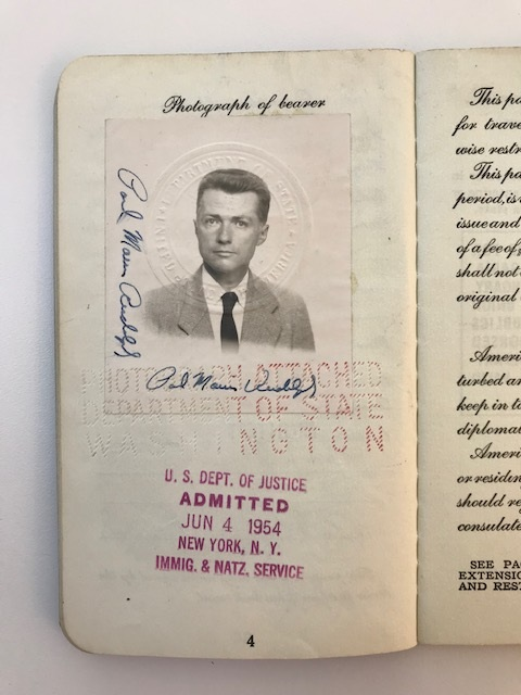 The photo and signature page from Paul Rudolph's US passport, issued in 1954. Rudolph was 35 at the time, and the home address he's written into the passport indicates that he was then a resident of Sarasota. From the collection of the Paul Rudolph Heritage Foundation.
