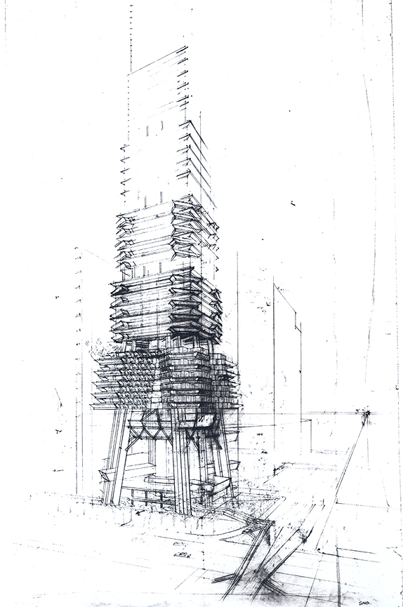 Sino Tower (Harbour Road Project), Hong Kong, China. Exterior Perspective Sketch. Early Scheme.