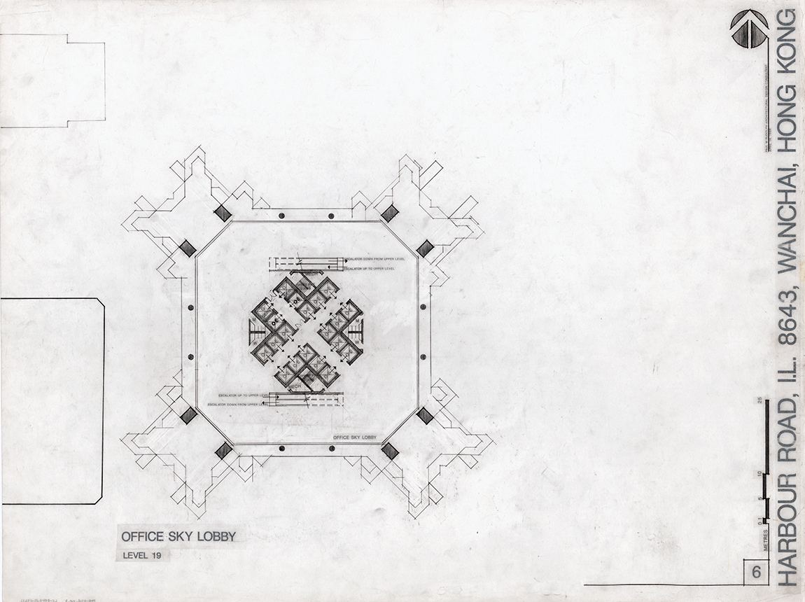 Sino Tower (Harbour Road Project), Hong Kong, China.  Office Sky Lobby Level 19 Floor Plan. Sheet 06 dated April 16, 1989.