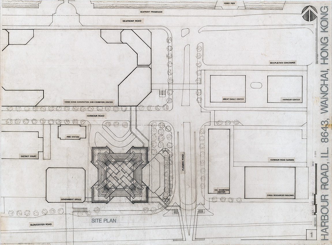 Sino Tower (Harbour Road Project), Hong Kong, China. Site Plan.  Sheet 01 dated April 16, 1989.