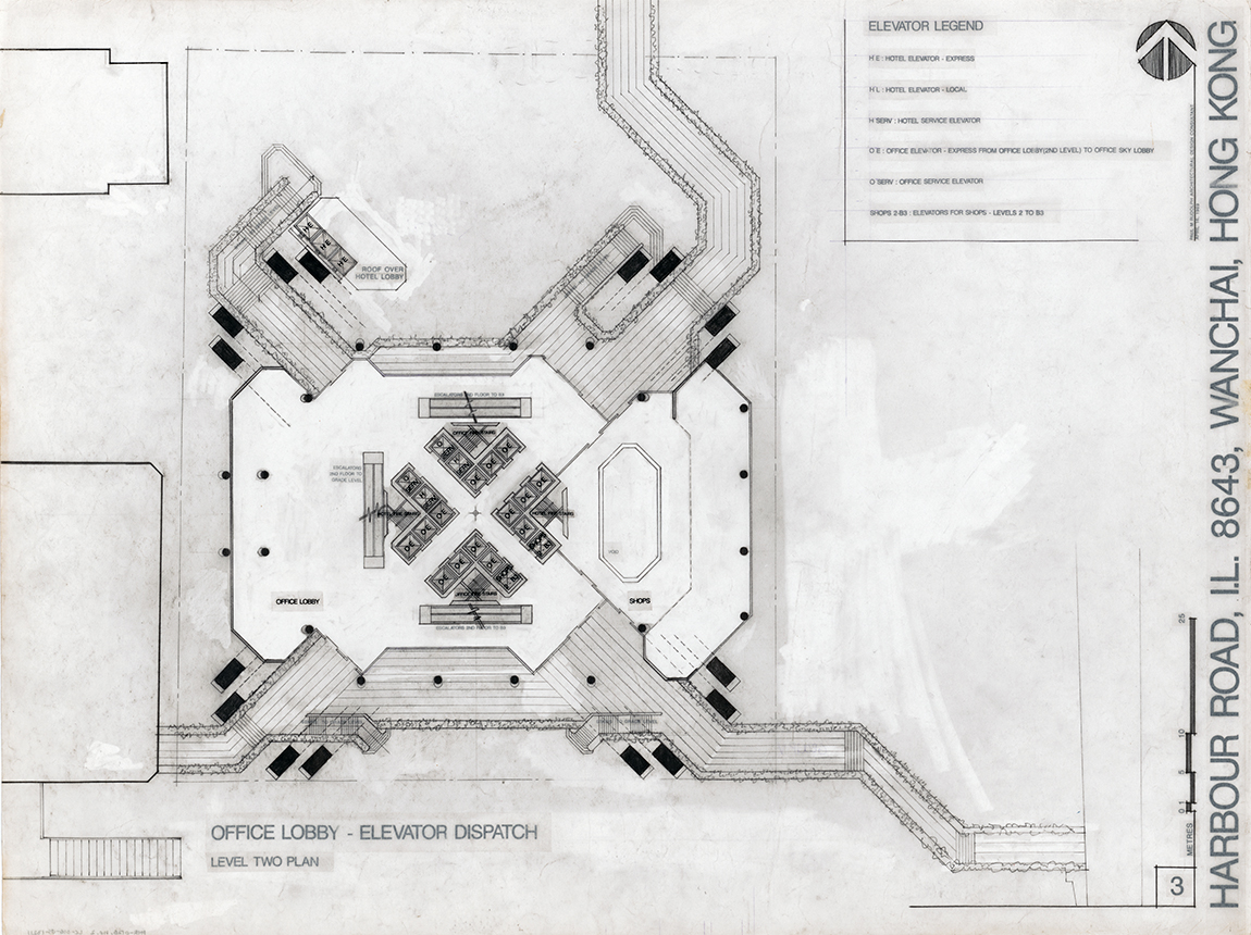 Sino Tower (Harbour Road Project), Hong Kong, China. Office Lobby - Elevator Dispatch Level 02 Floor Plan.  Sheet 03 dated April 16, 1989.