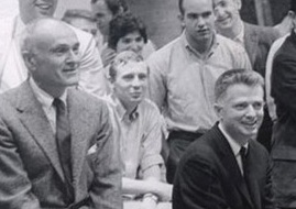 A detail from a snapshot of Philip Johnson (at left) and Paul Rudolph (at right) at a Yale architecture school jury in 1960. Photo: Stanley Tigerman