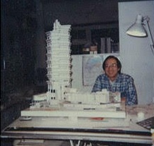 RD Chin, shown while working in Paul Rudolph's office in New York, next to a model of the Concourse (built in Singapore). Just peeking out at the bottom of the photo, below the tabletop, is the top of one of the fork-shapedmetal drawing-board supports which Rudolph had designed and custom fabricated for his offices—they can be seen in photos of his New Haven studio, and they seem to have move with him to his subsequent office locations (as well as showing up in Rudolph's perspective rendering of his New York office).
