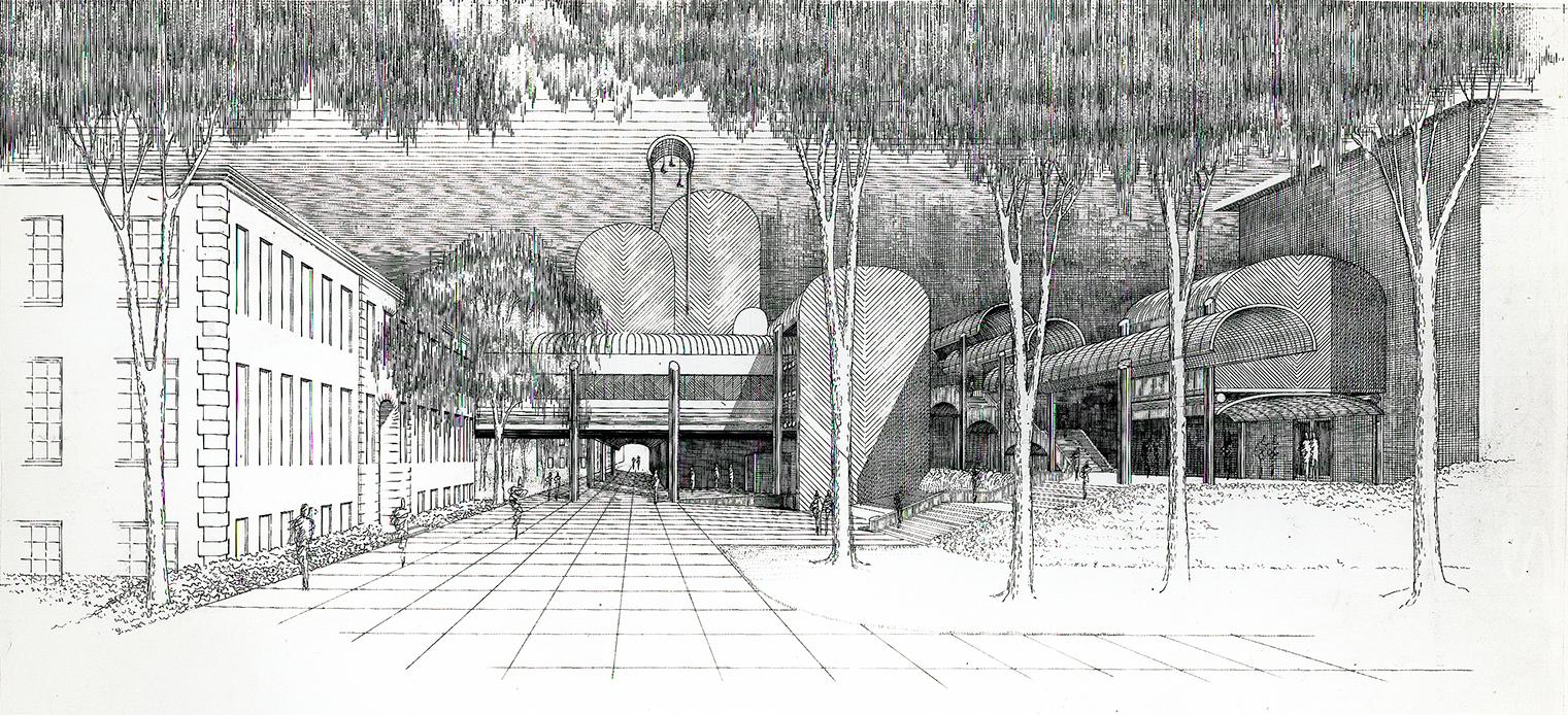 Cannon Chapel at Emory University, Atlanta, Georgia. Exterior Perspective Rendering.
