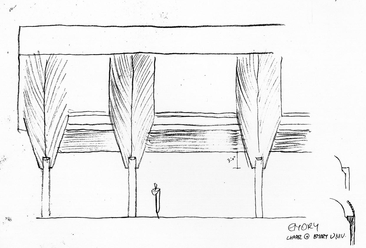 Cannon Chapel at Emory University, Atlanta, Georgia. Sketch Study of Exterior Facade.