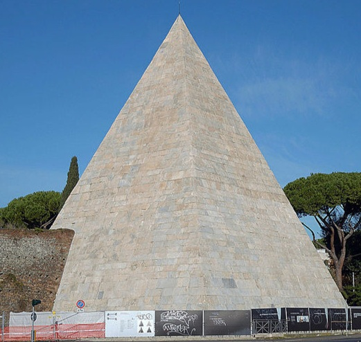 The Pyramid of Cestius in Rome, completed about 12BC. Photo by Livioandronico2013