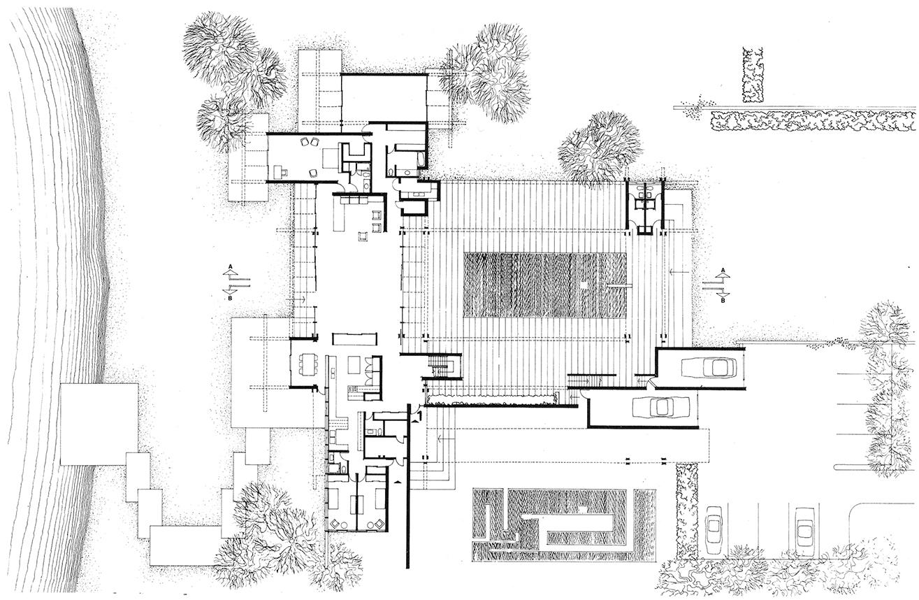 Pistell Residence, Lyford Cay, Nassau, Bahamas. Ground Floor Plan.