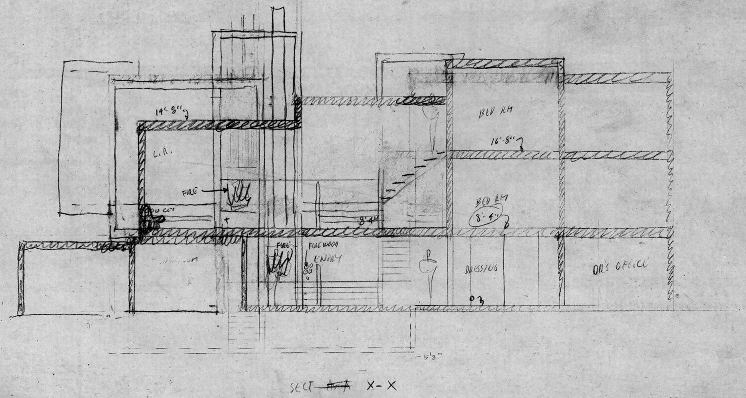 Parcells Residence, 3 Cameron Place, Grosse Pointe, Michigan. Section Sketch.