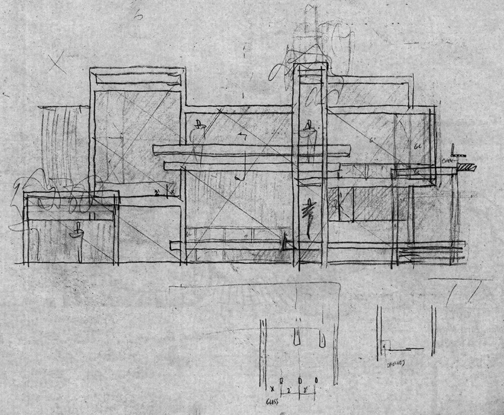 Parcells Residence, 3 Cameron Place, Grosse Pointe, Michigan. Elevation Sketch.