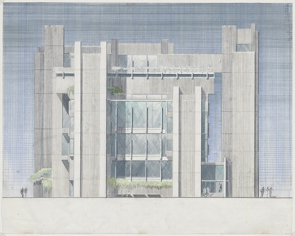Art and Architecture Building, Yale University, New Haven, Connecticut. Elevation Rendering.