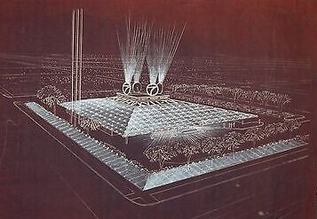 Only a rendering? No! Rudolph's television station in Amarillo    was    built—a pyramid for Texas!
