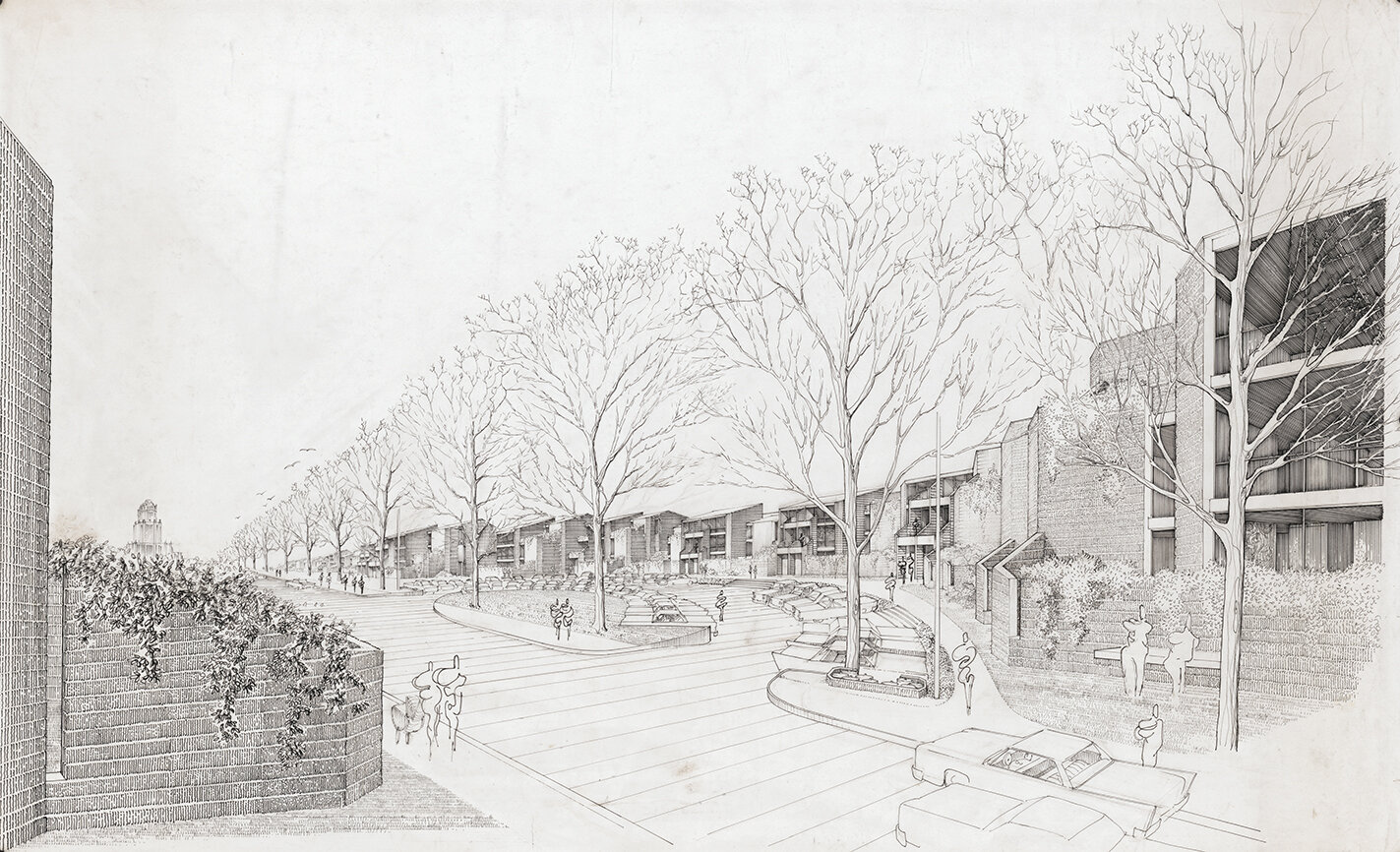 Buffalo Waterfront Housing Project (Shoreline Apartments).  Exterior Perspective Rendering of Phase I.