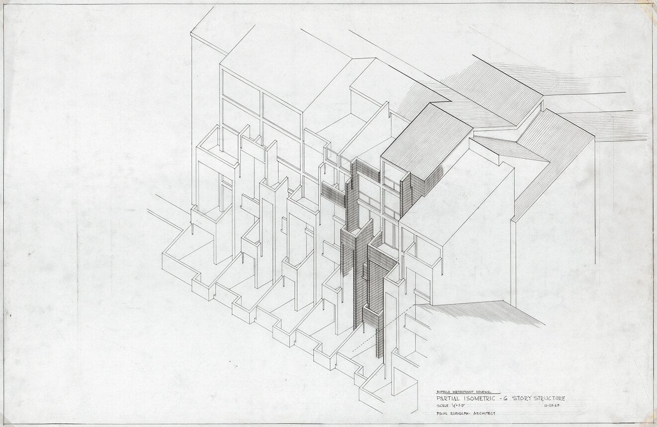 Buffalo Waterfront Housing Project (Shoreline Apartments). Partial Isometric - 6-story Structure. October 20, 1969.