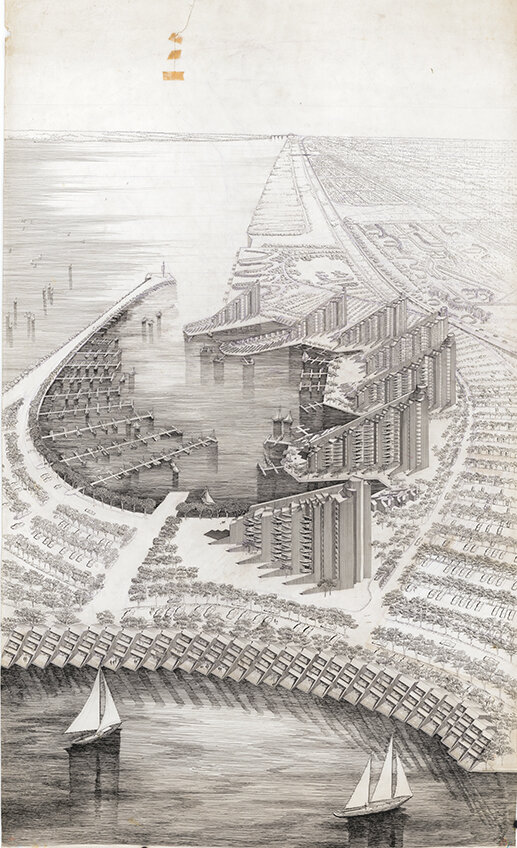 Buffalo Waterfront Housing Project (Shoreline Apartments).  Bird's-eye Perspective Rendering of Area 'A'.