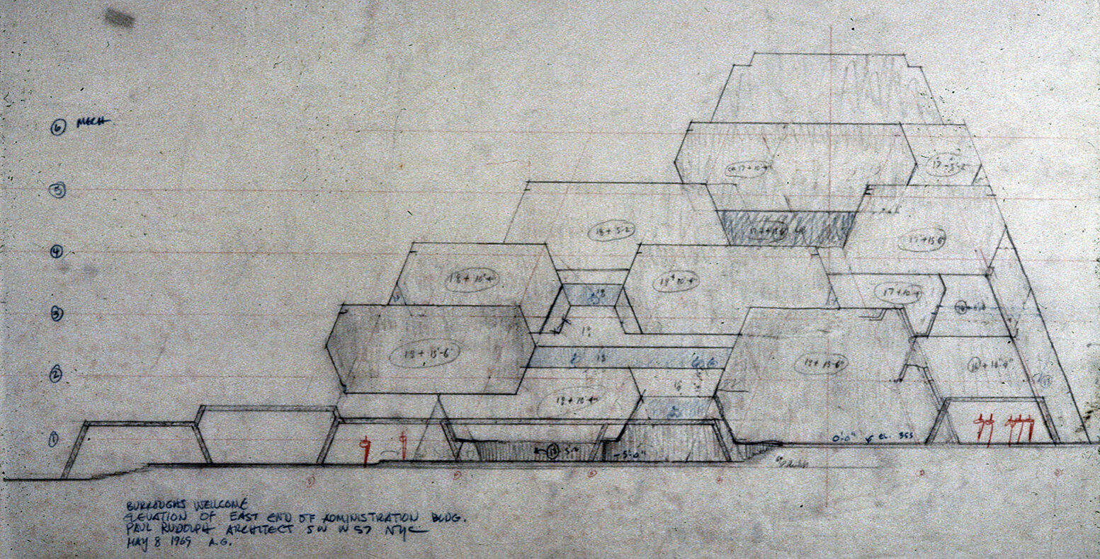 Burroughs Wellcome Company, Research Triangle Park, North Carolina. Elevation of East End of Administration Building. Sketch. Dated May 08, 1969.