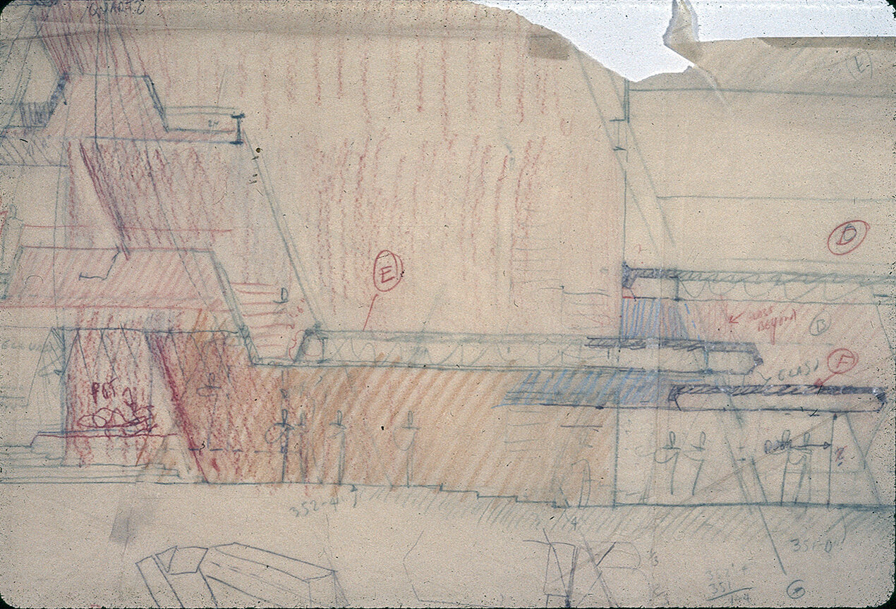 Burroughs Wellcome Company, Research Triangle Park, North Carolina. Section thru Entrance Canopy. Sketch.