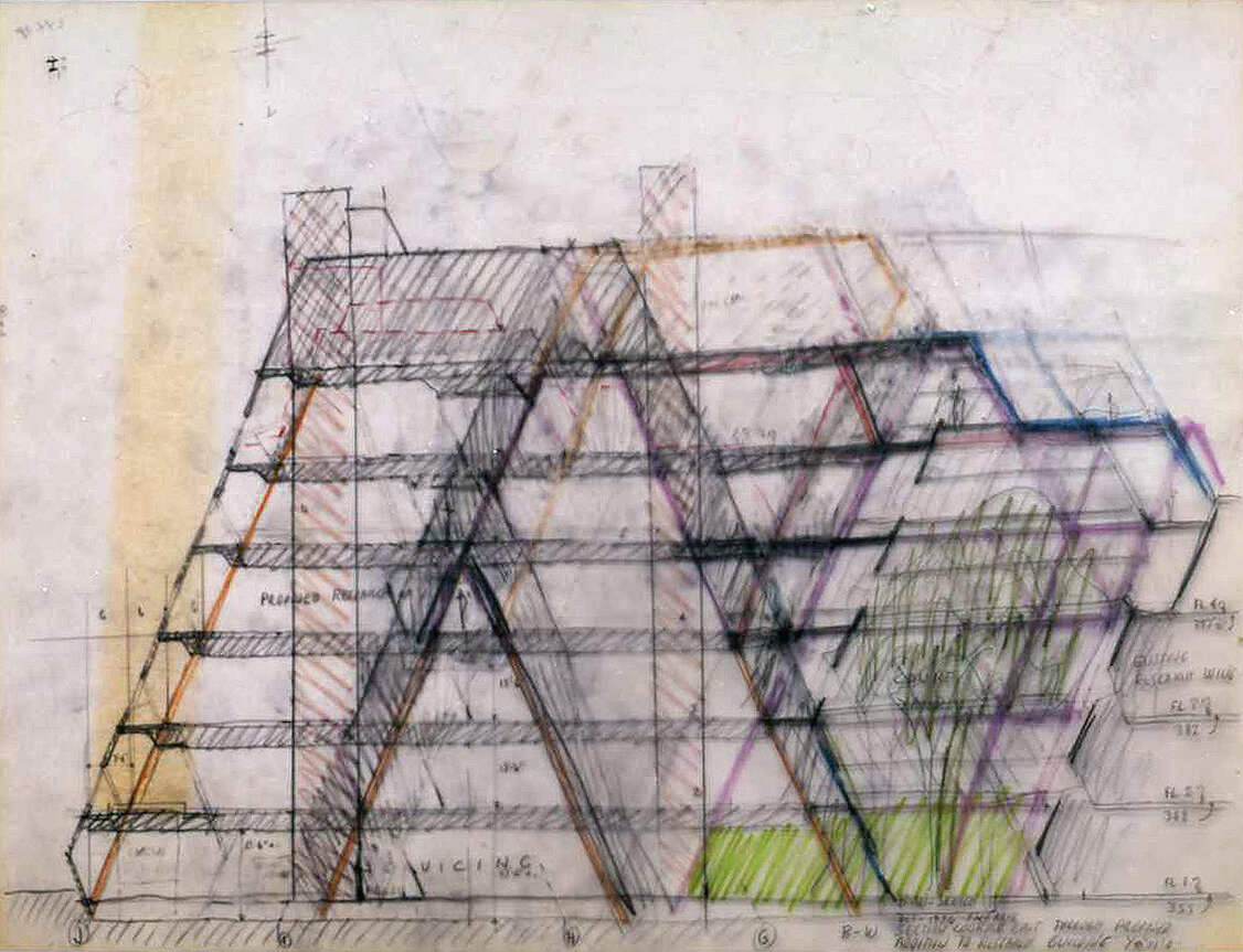Burroughs Wellcome Company, Research Triangle Park, North Carolina. Section Sketch.