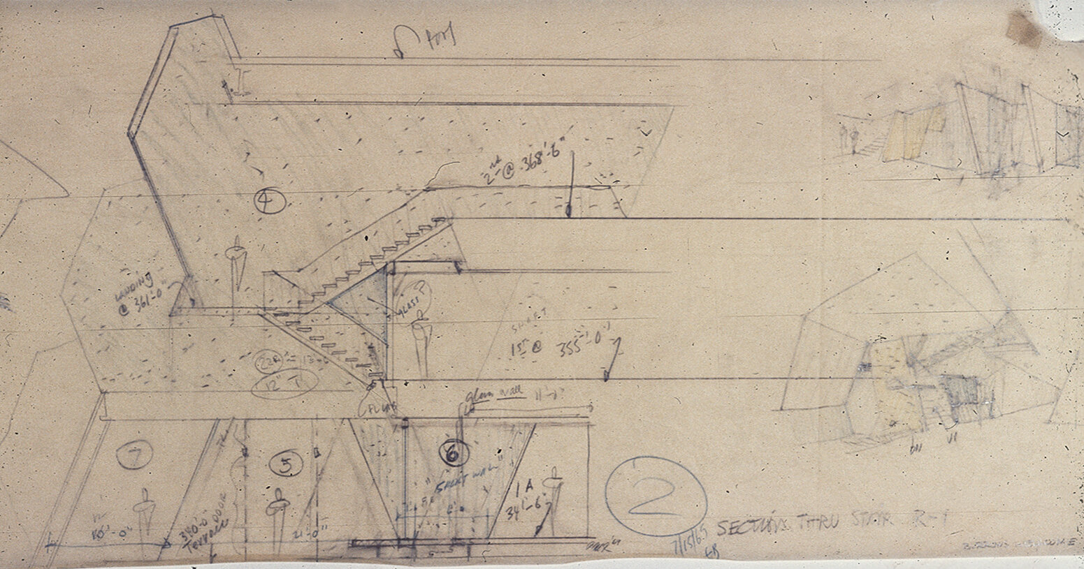 Burroughs Wellcome Company, Research Triangle Park, North Carolina. Section thru Stair. Sketch.