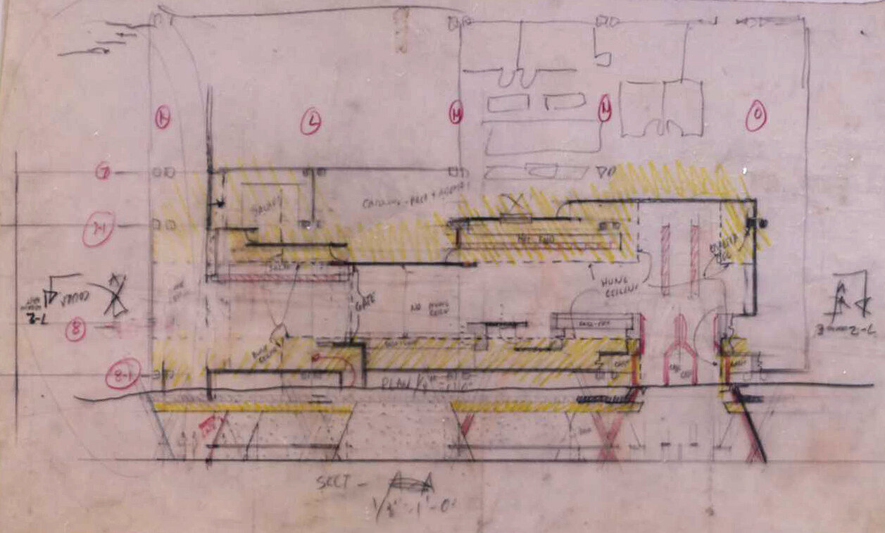 Burroughs Wellcome Company, Research Triangle Park, North Carolina. Plan and Section thru Hallway. Sketch.