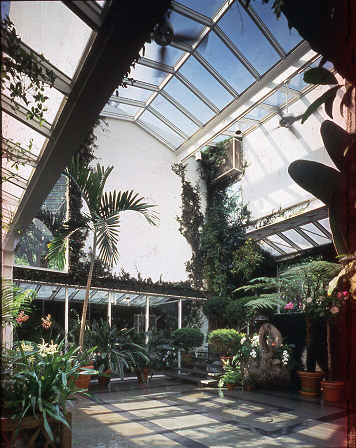 Residence for Mr. and Mrs. Sid R. Bass, Fort Worth, Texas.  Photo of Greenhouse Interior.
