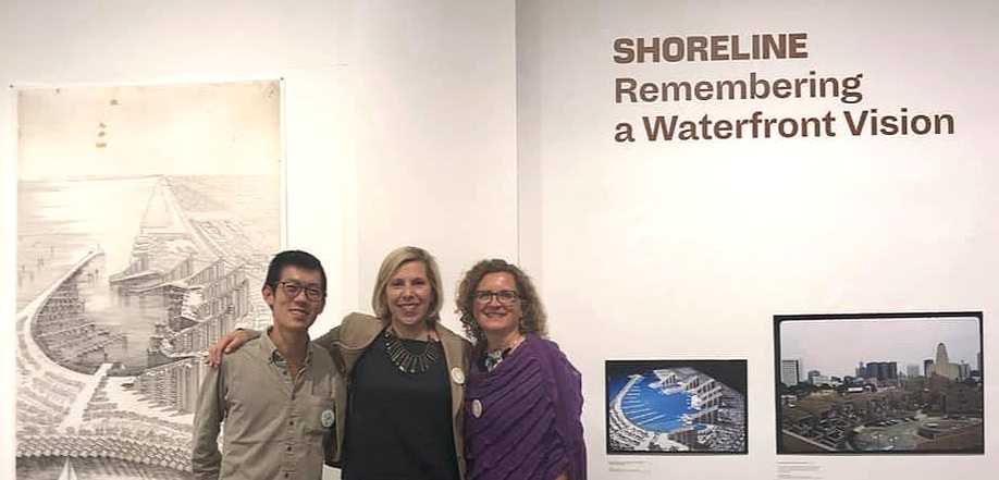 """Three key players: [left-to-right] Cheng Yang """"Bryan"""" Lee, the museum's curator;      Liz Waytkus     , Executive Director of DOCOMOMO US, and      Barbara Campagna     , leading preservationist—and co-curator of the exhibit. Photo by Joanne Campagna. [Photo by Barbara Campagna]"""