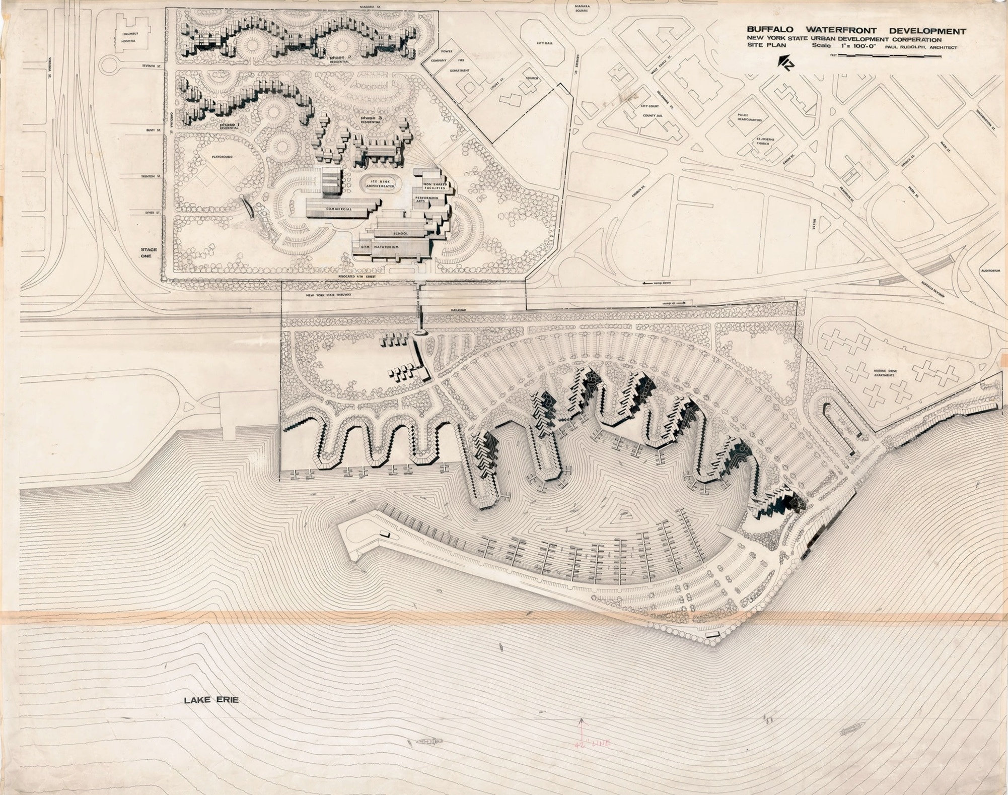 One of the numerous—and impressively large and detailed—drawings which Paul Rudolph created for the project. At the top is laid out the portion of the housing that was built. In the center is shown the boat marina—and the buildings that were to surround it: a mixture of housing of various heights, as well as community facilities. © The Estate of Paul Rudolph, The Paul Rudolph Heritage Foundation.