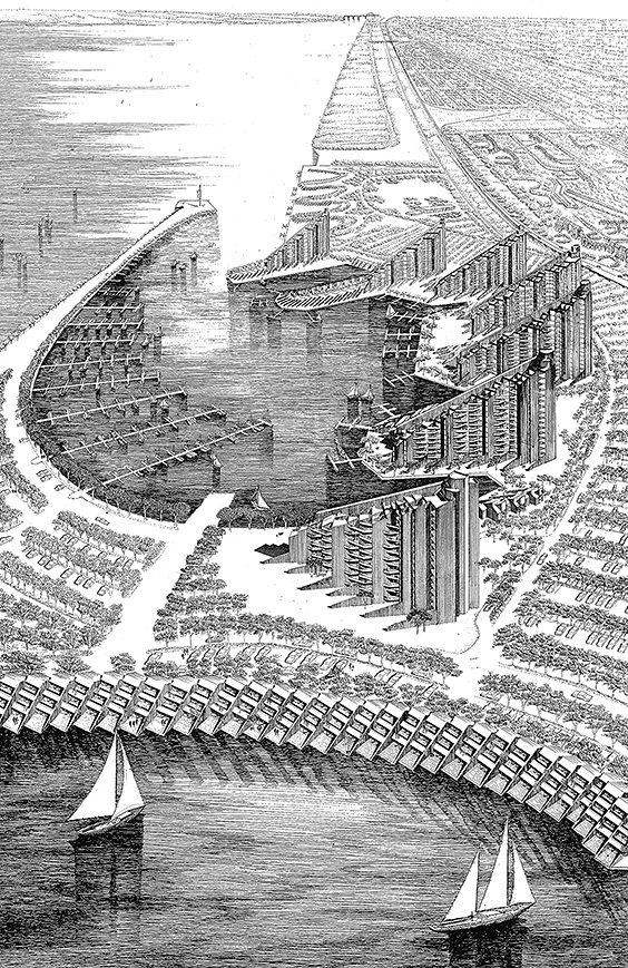 A full view of one of the drawings shown in the above exhibit installation photo. Rudolph was a master perspectivist, and this is his overall rendering of the project. In the middle is the boat marina, from which multi-story apartment houses radiate. In he foreground (at the bottom of the drawing) are townhouses that line the outer edge of the peninsula that surrounds the marina. Just visible, at the top-right, is the portion of the housing that was constructed. © The Estate of Paul Rudolph, The Paul Rudolph Heritage Foundation.