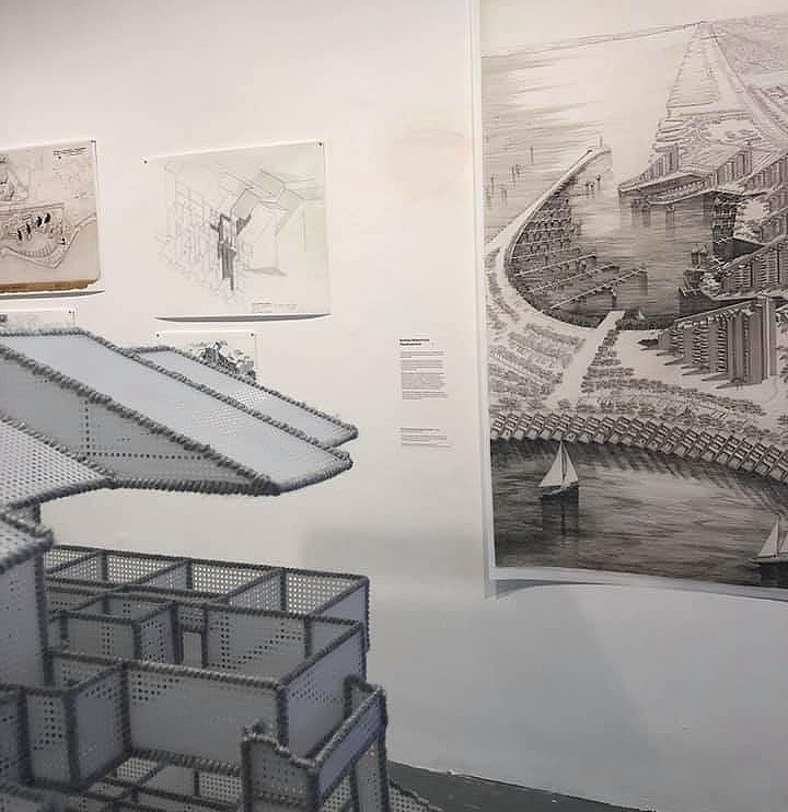 More of Paul Rudolph's drawings, as displayed on the exhibit's walls—and      in the foreground is one of Kurt Treeby's architecturally-focused artworks.      [Photo by Barbara Campagna]