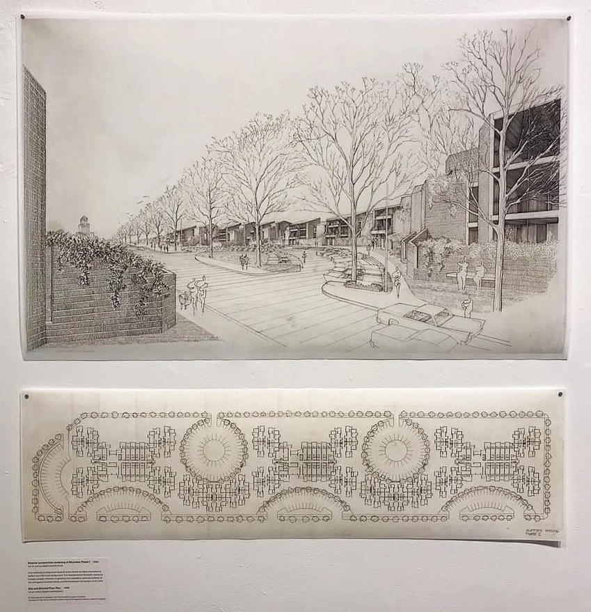 Two of the drawings that were put on display in the exhibition:      ABOVE: One of Paul Rudolph's perspective renderings of the project, showing a near-street-level view of a line of the brick townhouses, along with the radially planned parking adjacent to the residence.      BELOW: Rudoph's site plan drawing, showing his overall disposition of the townhouses, parking, and green areas in one section of the development.      Paul Rudolph's work is © The Estate of Paul Rudolph, The Paul Rudolph Heritage Foundation.