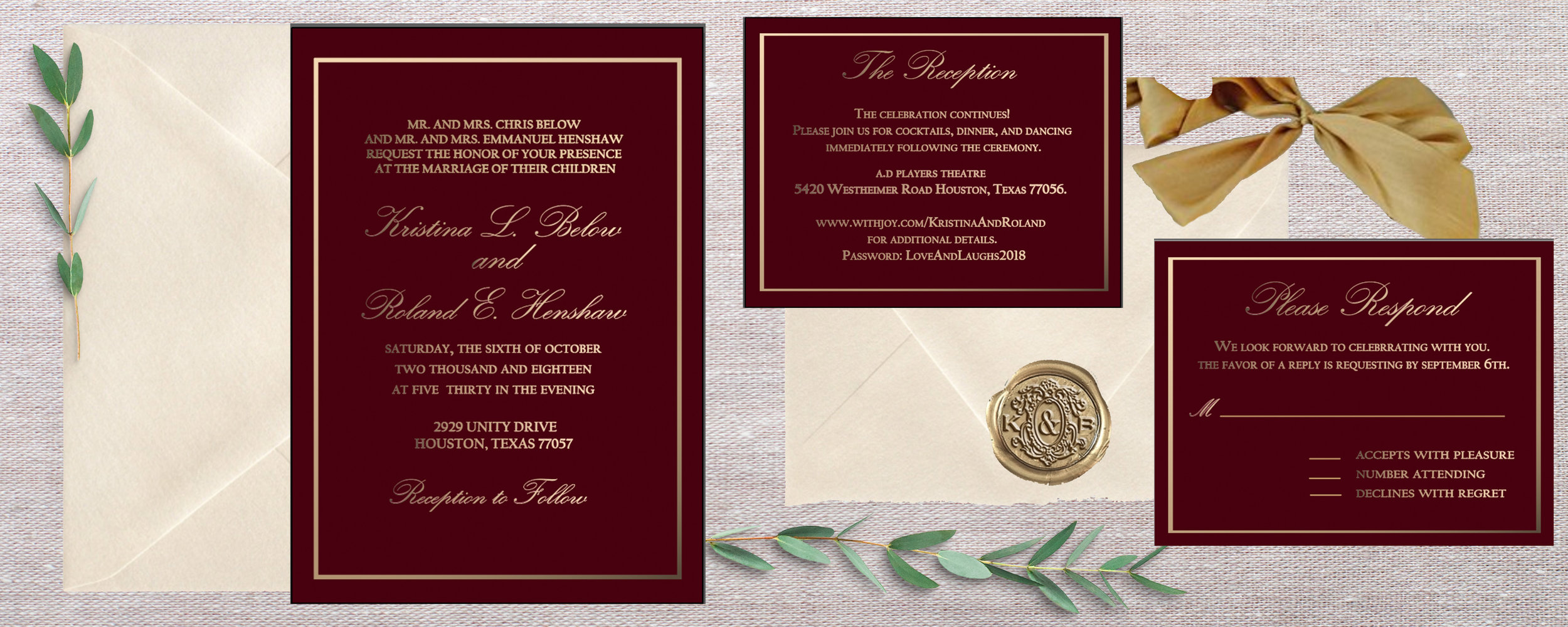 "This design is super elegant yet simple! The antique gold ribbon, and wax seal compliments this suite beautifully and gives this invitation a special touch of uniqueness. I love how extremely delicate, and curvy the primary font is; to me, it embodies the blissfulness of marriage.     Color Story: Deep maroon represents passion, + the gold lettering creates a type of ""ardent glow."" Ivory on the envelopes: It carries some of the same pureness, softness and cleanliness of white but is slightly richer and a touch warmer."