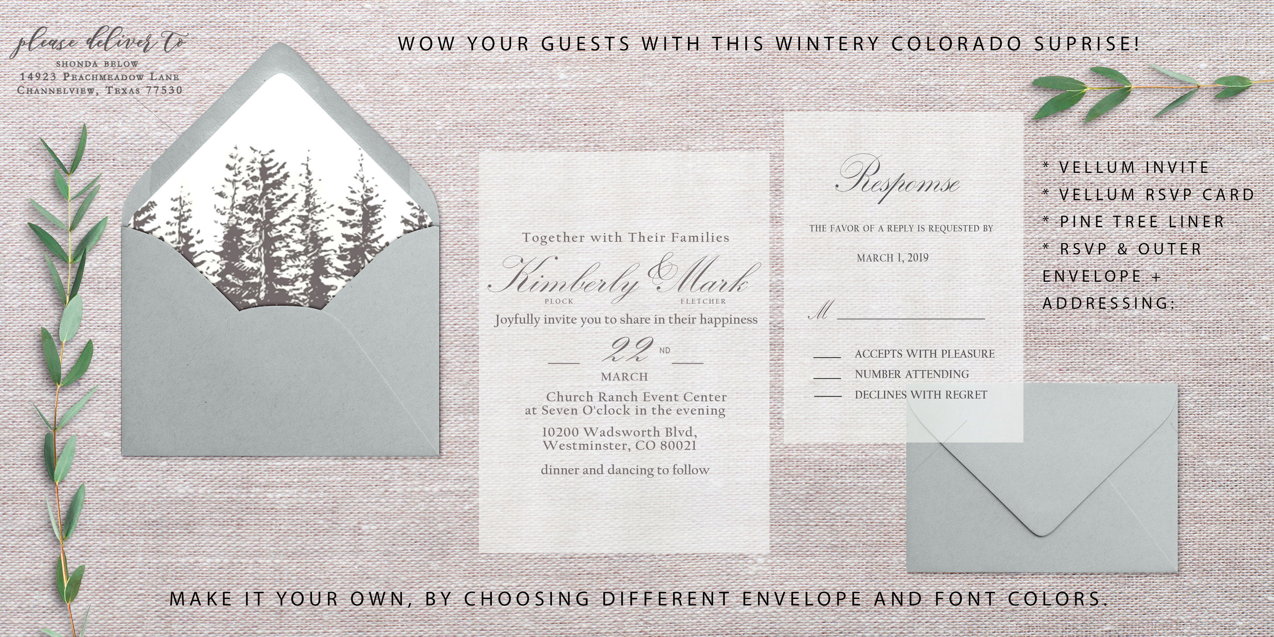 Added the descriptions/notes to the display image. Also changed the envelope color scheme to a more wintery theme using a soft teal color. However, brides can still swamp out envelope and font colors on this one!    Liner = $1.90 (discounted) Addressing on both = $1.20 (discounted) Envelope A7 = $0.50 (discounted) Envelope A2 = $0.45 (discounted) Vellum invite = $1.50 Vellum RSVP = $1.40      Total: $6.95