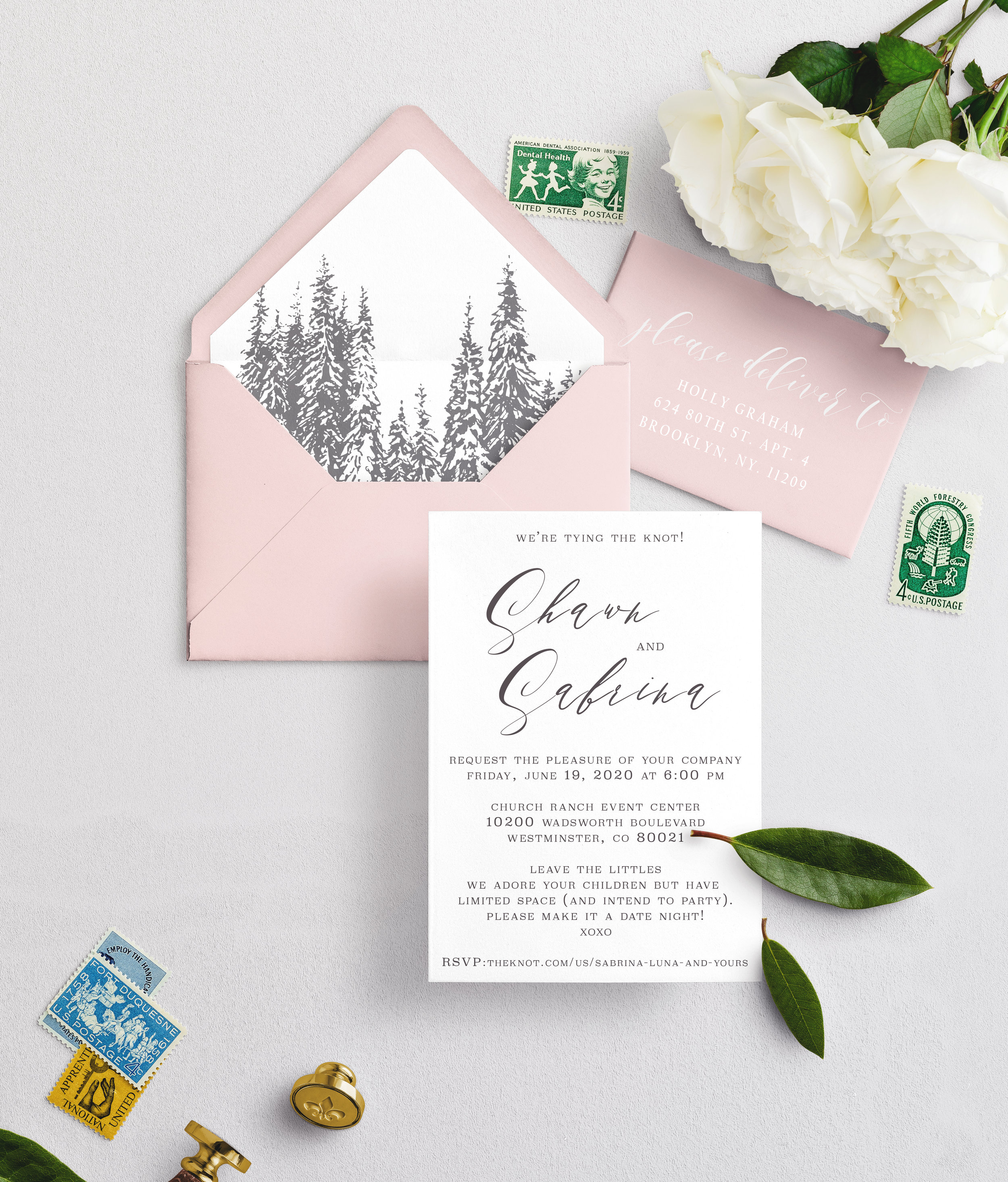 We included your wedding colors and our standard aspen tree liner:   Blush, White, and light gray.  Please let us know if you would like to invert or change out any of the colors.   We have your current shipping & return address as:   15953 E. Nichols Place Englewood, CO 80112  This is the address that will be stamped on the back flap of the envelopes.   Order Details    Invitation Decision:  Cottonwood Suite (included)   Envelope Color?:    Quantity:  We do not need any additional invitations   Wording:  I do not want any additional cards, but I still want to personalize the invite. Please still send me the wording form   I want more!:  No, I love the current offerings, I do not need to meet in person.   Shipping Address/ Return Address:  15953 E Nichols Place Englewood CO 80112   Mailing Invitations:  Thank you, please send me the finished invitations, and we will mail them ourselves.