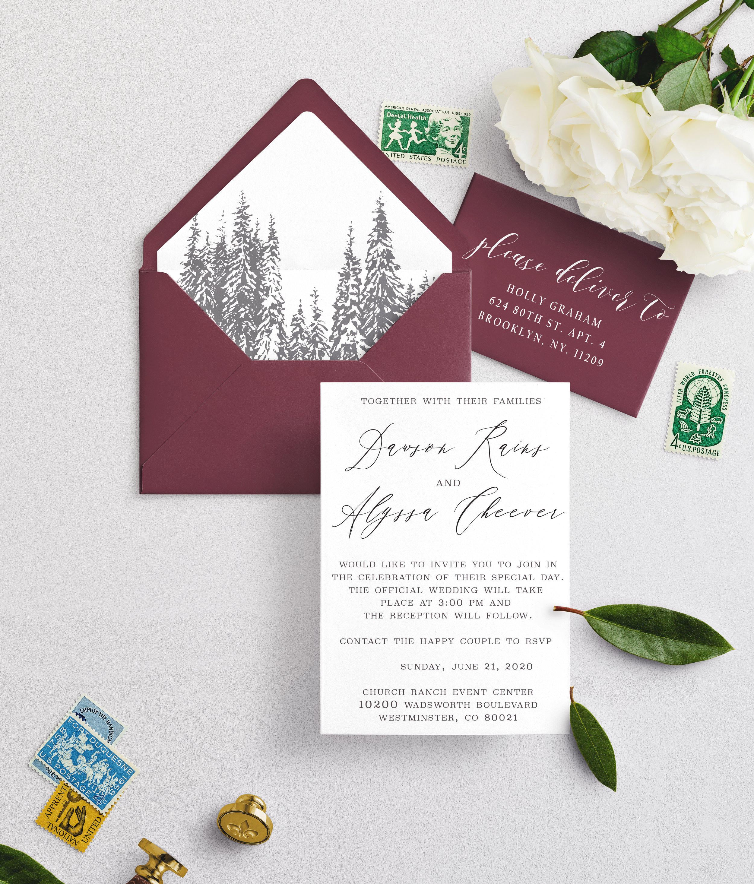 We included your requested burgundy (claret) wedding color and our standard aspen tree liner. If you choose this direction, it will be more of a clean/elegant feel.