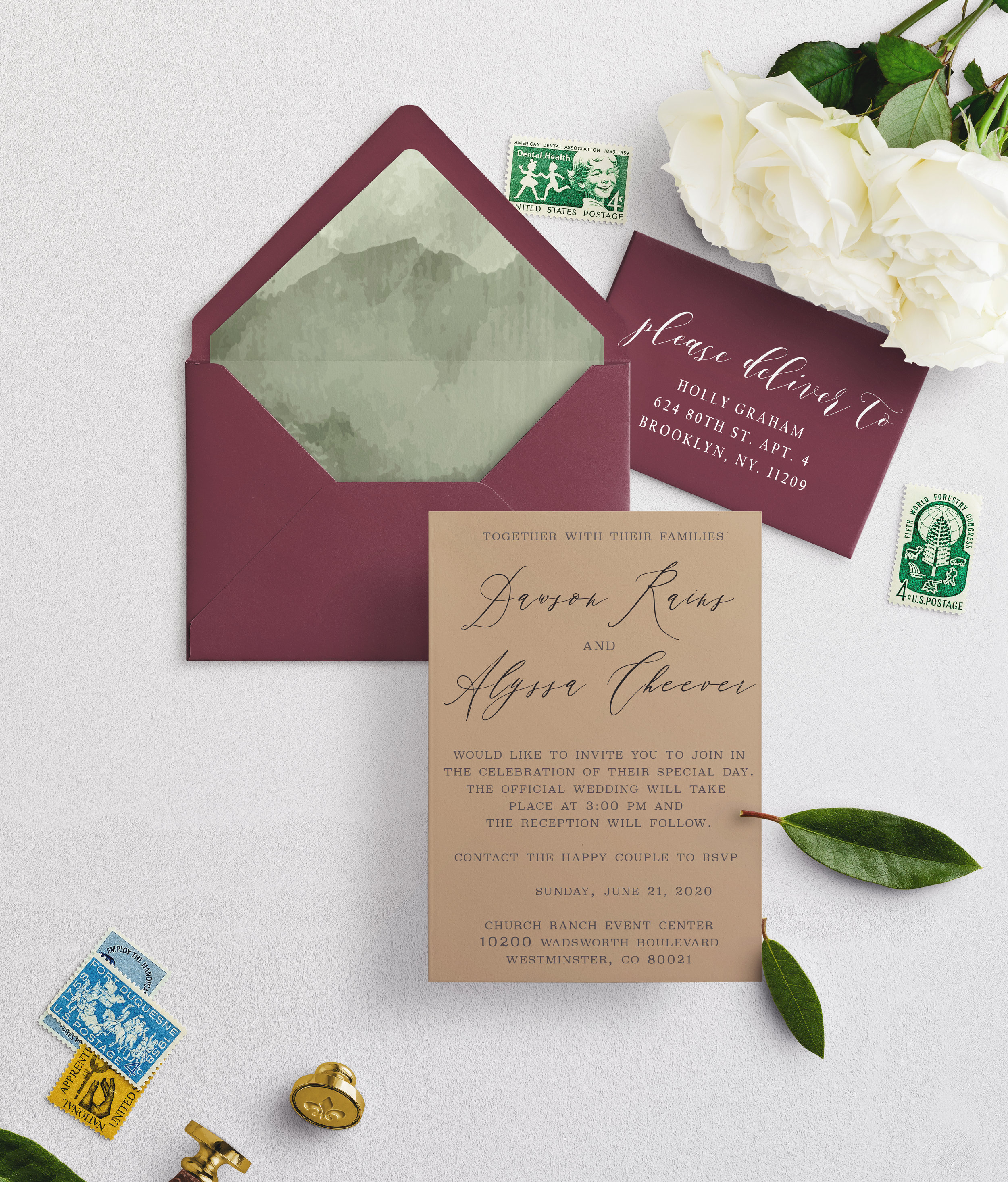 We can also do a brown kraft paper instead, with our green watercolor liner if you prefer. Which will be more of an  earthy  feel.      We have the following address as the return address for the back flap:  Alyssa and Dawson, 1497 10th st -A, Greeley Colorado, 80631