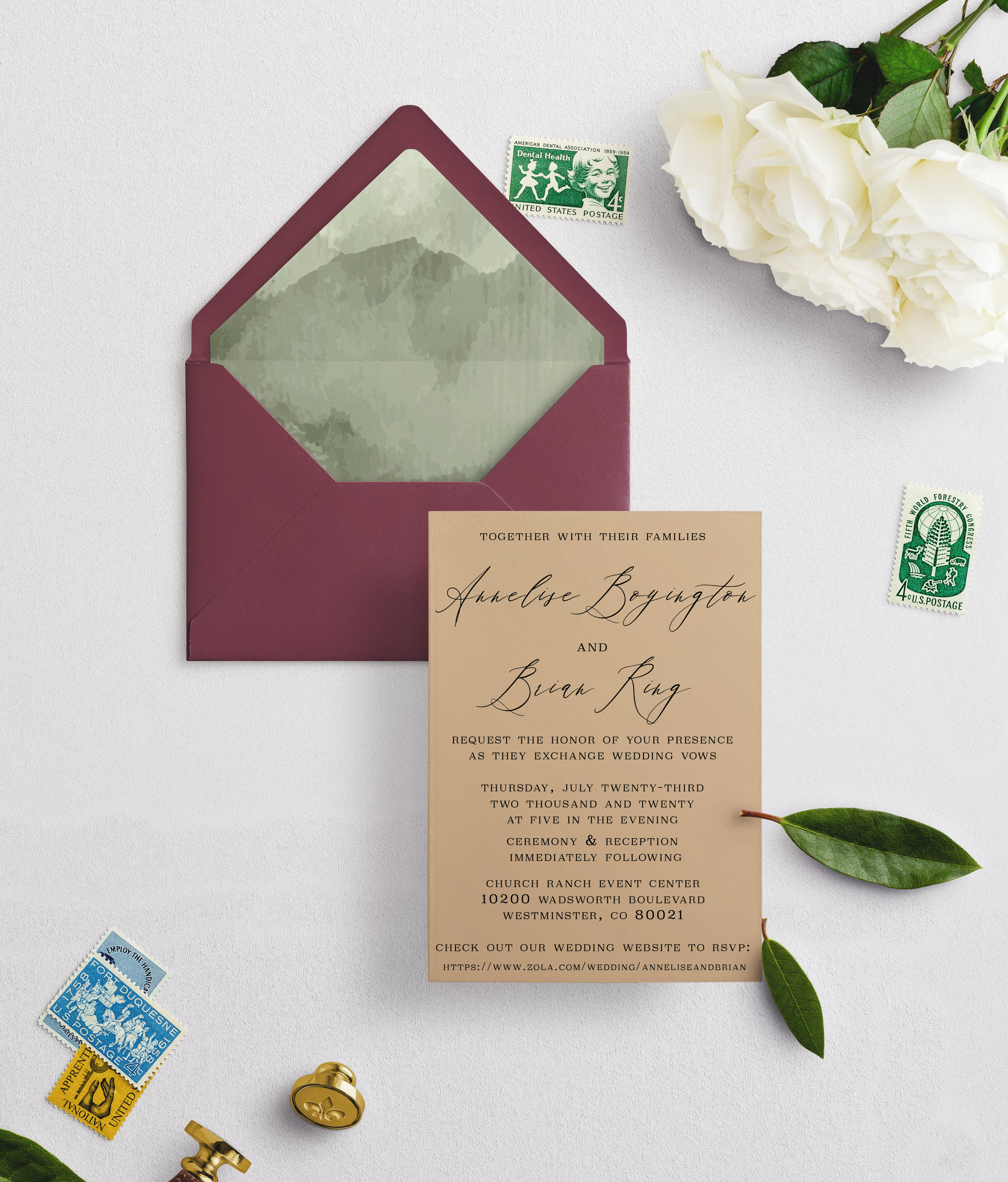 Invitation Decision:  Cottonwood Suite (included)   Envelope Color?:  Burgundy   Envelope Liner:  Watercolor Green Liner (Premade)   Quantity:  I do not need any extra invitations.   Wording:  Keep the wording as is, just include our personal wedding details.   Paper Type:  Keep as shown   Your RSVP Details/ Url?:  Check out our wedding website AT  https://www.zola.com/wedding/anneliseandbrian  to RSVP   I want more!:  No, I love the current offerings, I do not need to meet in person.   Shipping Address/ Return Address:  Ship to Annelise Boyington 19404 W 88TH DR Arvada CO, 80007