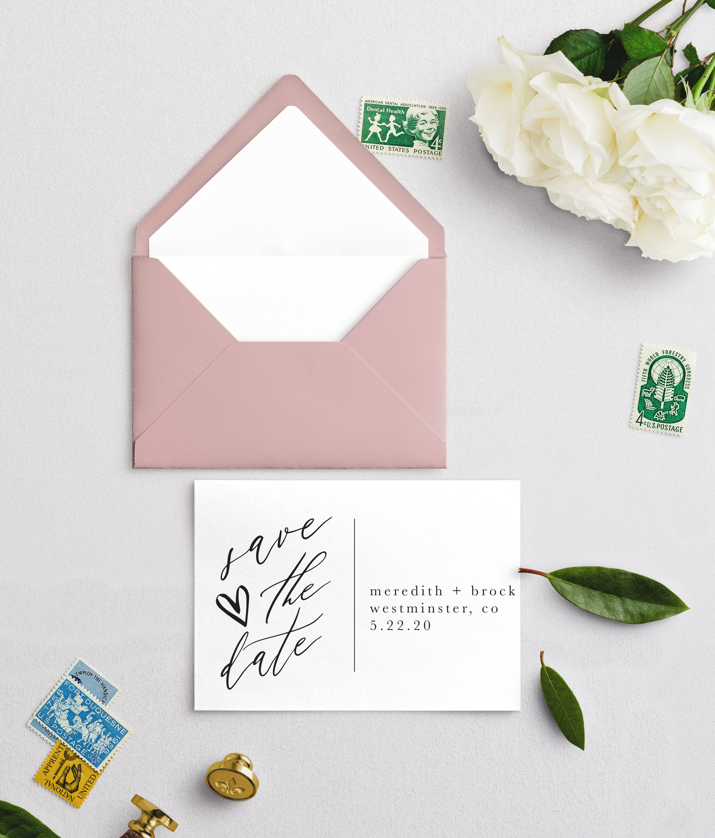 Dusty Rose inspired, while still simple and blissful.  QTY: 100, 118# cardstock white  Envelope color: Dusty Rose