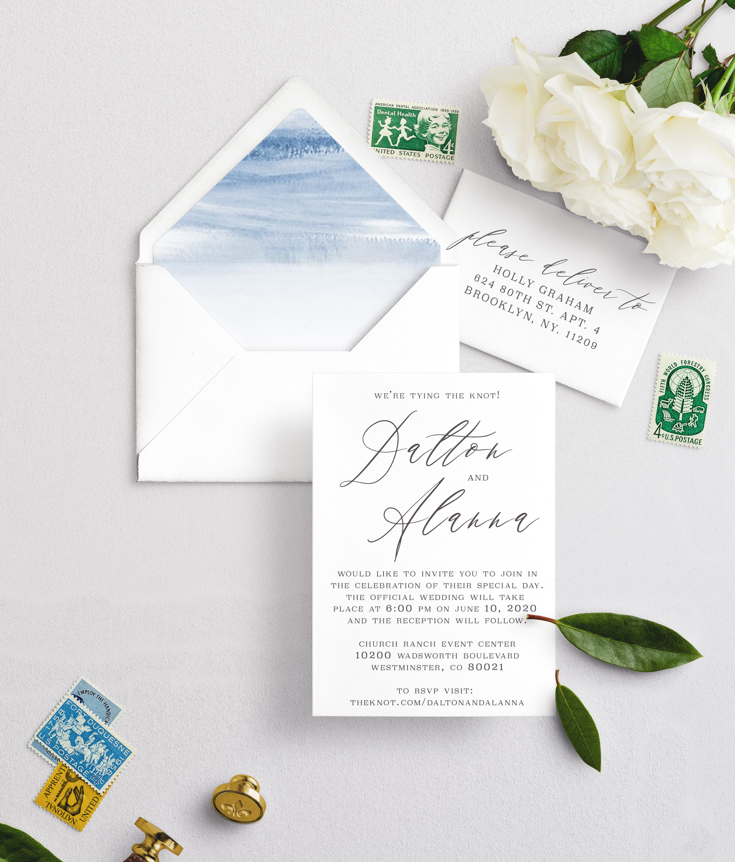 Invitation Decision:  Cottonwood Suite + specific redesign need   Envelope Color?:  white   Quantity:  100 included   Wording:  Keep the wording as is, just include our personal wedding details.   I want more!:  Yes, I'd still like to meet in person to discuss available upgrades.   Shipping Address/ Return Address:  2928 Penstemon Way Castle Rock CO 80109