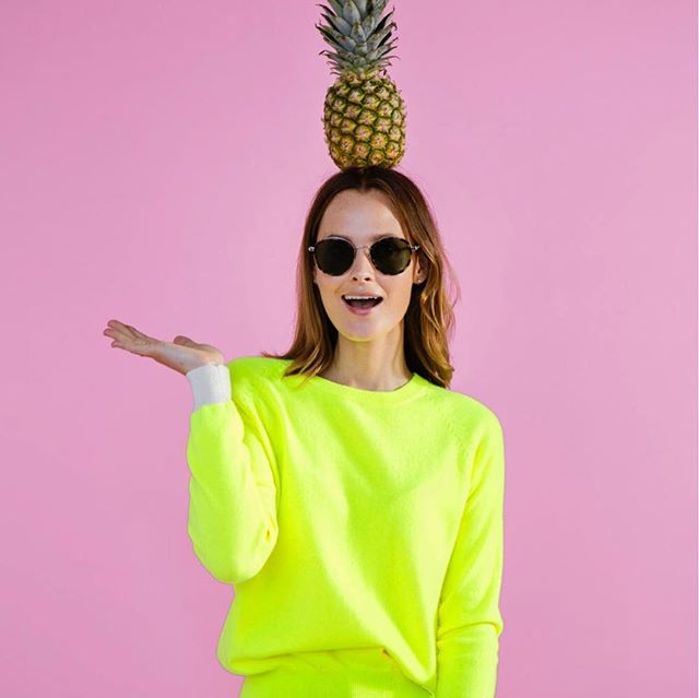 Fun infused cashmeres @gussyandlou. For the full article, 'link in bio' #oliviabythelake #cashmere #neon #brightwinter
